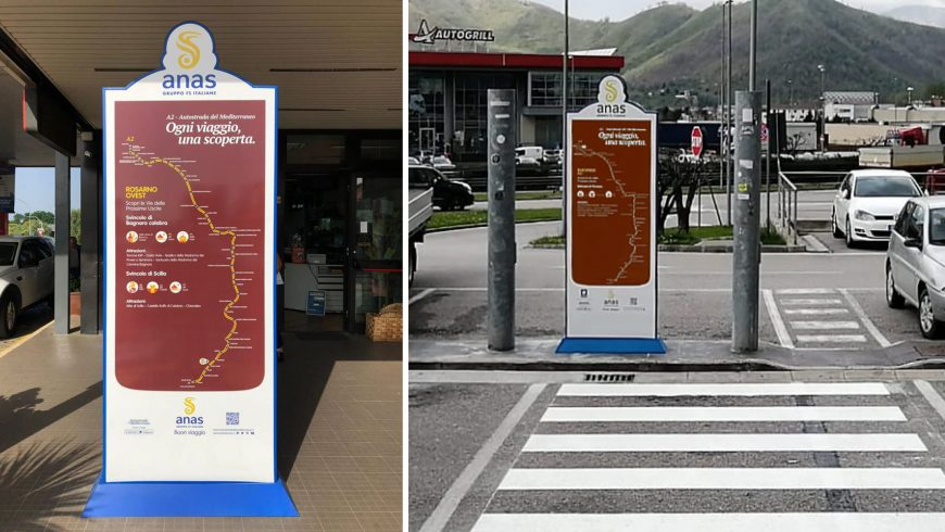 Totem segnaletici turistici, Autostrada A2 del Mediterraneo